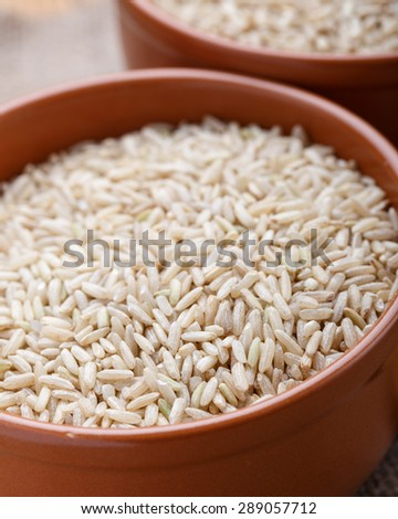 The raw brown rice in the ceramic bowl - stock photo