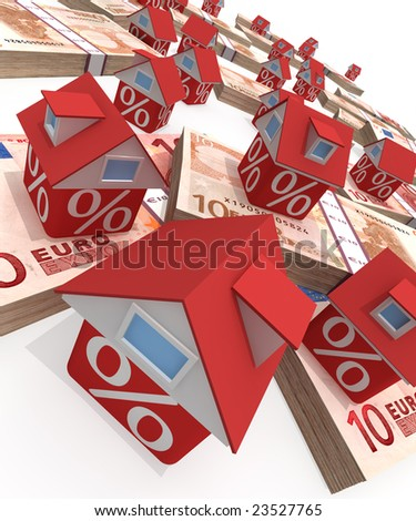 The real estate crisis . 3D rendered illustration - stock photo