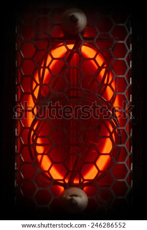 The real Nixie tube indicator of the numbers of retro style.  Digit 0 - stock photo