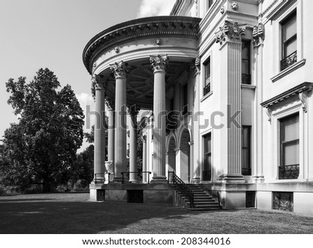 The rear entrance of the Vanderbilt Mansion National Historic Site in Hyde Park, New York, black and white.   (US National Park) - stock photo