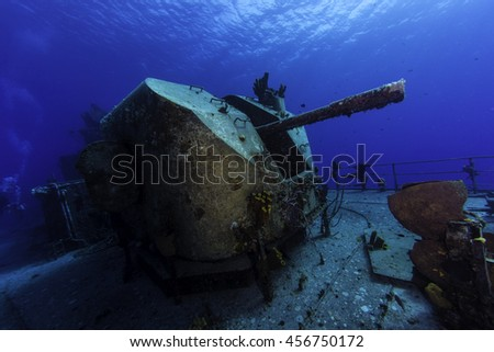 The rear guns of a sunken Russian destroyer - stock photo