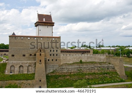 The reconstructed fortress of Narva (view from russian fortress Ivangorod)