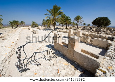 The reconstructed southern stables at Tel Megiddo National Park - stock photo