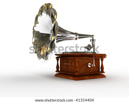 The record player 3D over white background
