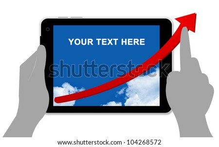 The Red Arrow in Tablet PC Screen Isolated on White - stock photo