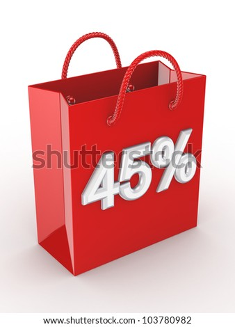 """The red bag labeled """"45%"""".Isolated on white background.3d rendered. - stock photo"""