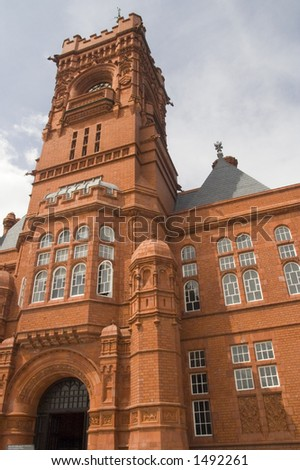 The red brick building that were once the offices of the Bute Dock Company. Now part of Welsh Assembly. - stock photo
