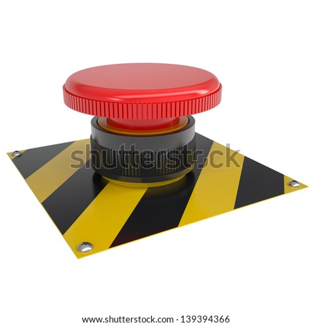 The red button on the base. Isolated render on a white background - stock photo