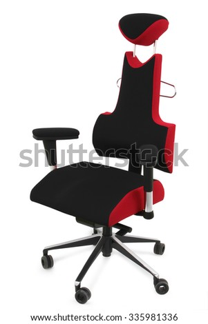 The red ergonomic office chair - isolated on white background - stock photo