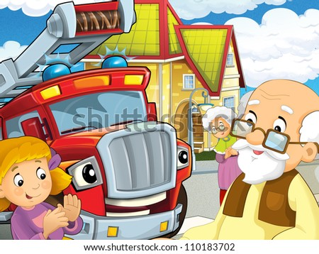The red fire truck and his friends - colorful and happy illustration for the children