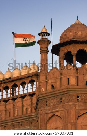 The Red Fort durring sunset in Delhi, India - stock photo