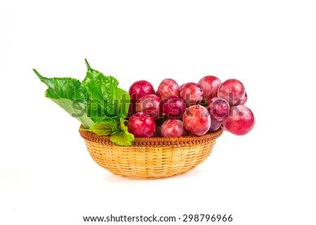 the red grapes isolated on white background