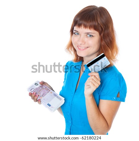 The red-haired young girl with a credit card and a bundle of bank-notes (euro). Isolated of white background - stock photo