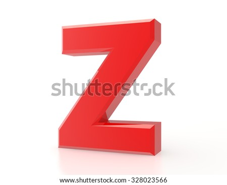 the red letter Z on white background 3d rendering