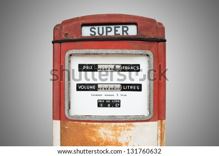 the red oil dispenser with gray background
