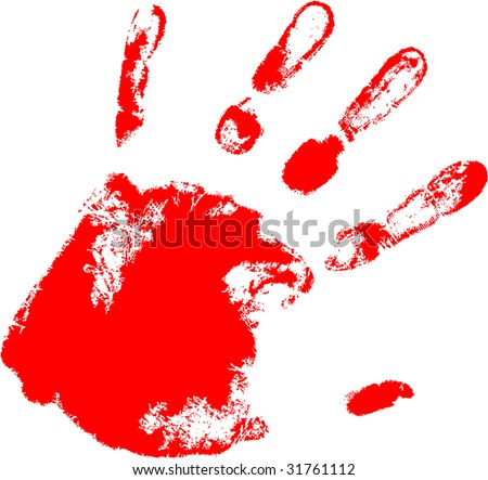 the red raster hand print
