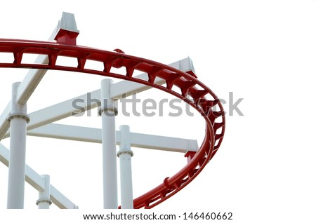 The red roller coaster on a white background - stock photo