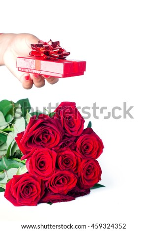 the red rose and female hand for gift everyone ,isolated on white