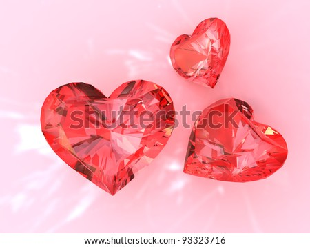 The red ruby heart, 3d render - stock photo