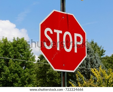 The red stop sign with the trees and the sky in the background.