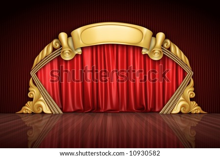 The red theatre velvet curtains. - stock photo