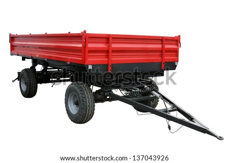 The red tractor cart isolated on a white background - stock photo