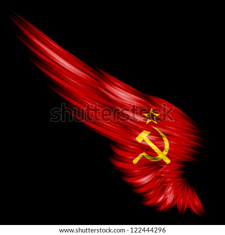 The red wing with star and socialist symbol on black - stock photo