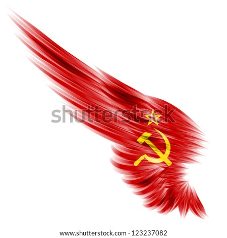 The red wing with star and socialist symbol on white - stock photo