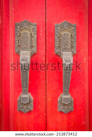The red wooden door are Chinese and East Asian culture. - stock photo