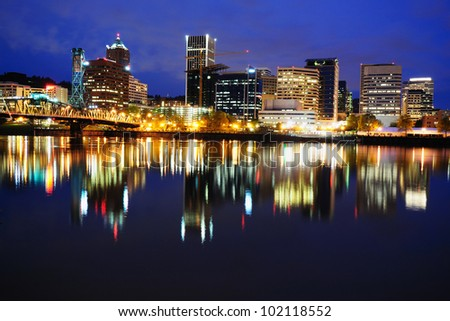 The Reflection of Portland Skyline in Night Time - stock photo