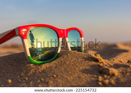 The reflection of the holiday and relaxation  - stock photo
