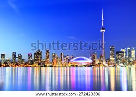 The Reflection of Toronto skyline in Ontario, Canada. - stock photo