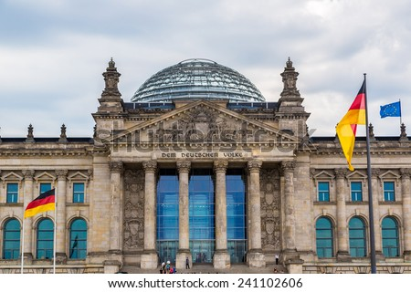 The Reichstag building in Berlin. It was opened in 1894 as a Parliament of the German Empire - stock photo