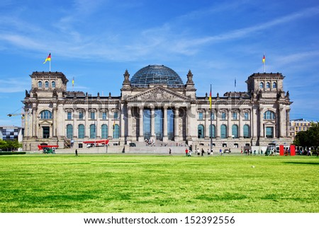 The Reichstag building of the German parliament Bundestag in Berlin, Germany - stock photo