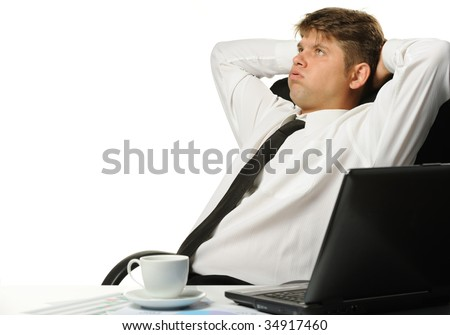 The relaxed businessman - stock photo