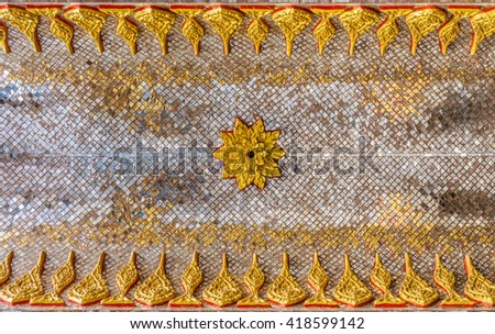 The religion art on Thai Buddhist Temple ceiling - stock photo