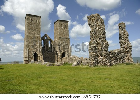 The remains of Reculver Abbey in Kent, UK