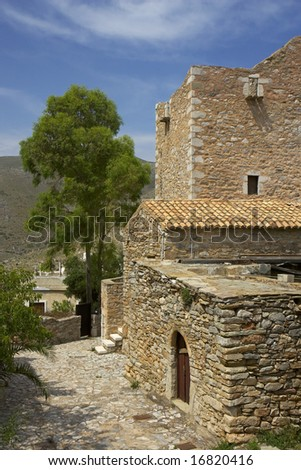 The remains of the tower houses of Vathi in the Peloponnese are of Greece