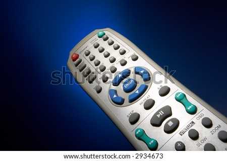 The remote-control on a dark blue background