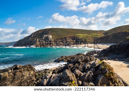 The remote fishing cove at Portheras Cove near Pendeen in Penwith Cornwall England UK Europe - stock photo