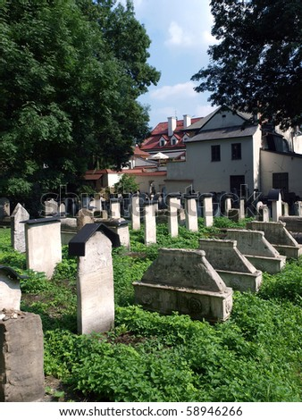 The Remuh Cemetery in Krakow, Poland, is a Jewish cemetery established in 1535. It is located beside the Remuh Synagogue - stock photo