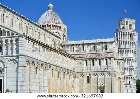 The renaissance cathedral at Pisa, with the leaning tower in the background at Pisa, Italy - stock photo