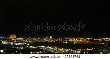 The Reno, Nevada, skyline on a clear winter night. Lights and action everywhere.