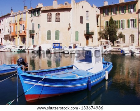 the resort town of martigues, marseilles france - stock photo