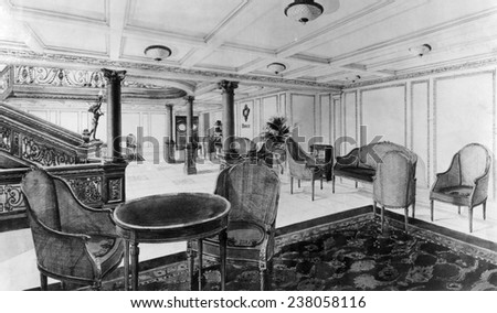 The restaurant reception room of the RMS Titanic which sank after hitting an iceberg on its maiden voyage 1912