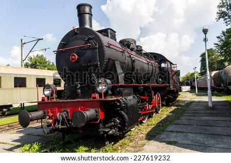 The restored old steam locomotive, worked for Polish railways - stock photo