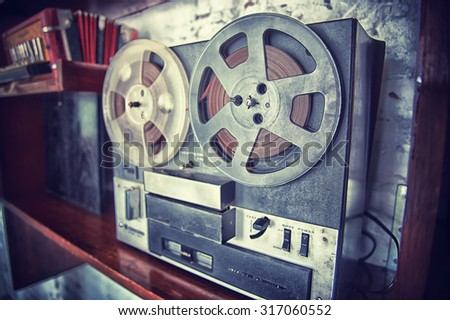 the Retro audio tape recorder player, vintage effect - stock photo
