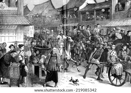 The return of racing in shanghai, vintage engraved illustration. Journal des Voyages, Travel Journal, (1880-81). - stock photo