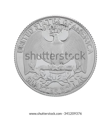 The reverse side of a USA 25 cent - quarter coin, depicting USA's coat of arms - the bald eagle. Isolated on white background. - stock photo