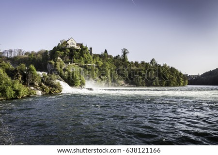 The Rhine Falls on the High Rhine in Switzerland - the largest waterfall in Europe